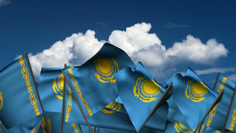 Waving Kazakh Flags Animation