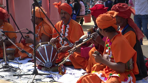 Folk Musician In Surajkund Fair/Village Fair stock footage