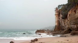 Castle Tower On Beach stock footage