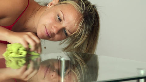 Woman Cleaning Glass Table With Wipe Doing Chores Footage