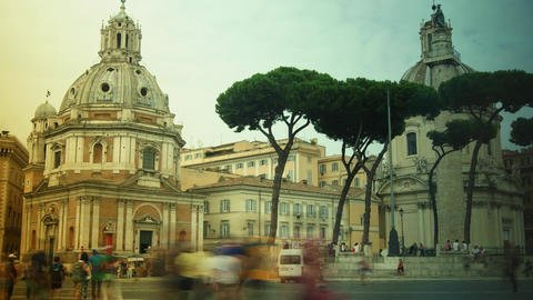 View on Via dei Fori Imperiali street in Rome Footage