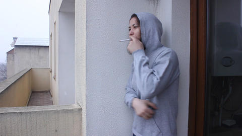 Young Girl Smoking Cigarette stock footage
