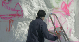 Snow Sculpture German Artist Close Up 01 stock footage