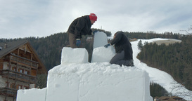 Snow Sculpture Modelling 01 stock footage