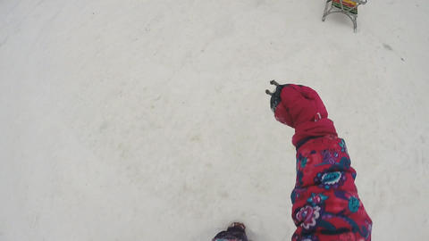 Little Girl Runs with Camera on the Head. Slow motion Footage
