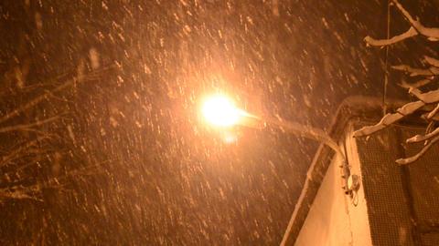 Plentiful Snowfall In Front Of Street Light stock footage
