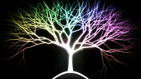 Tree of Light Particles - Rainbow Animation
