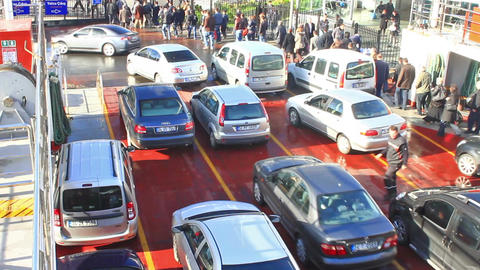 Rows of cars get off from a ferry in Istanbul Footage