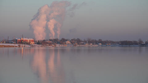 (Timelapse) Factory Pollution over Lake Live Action