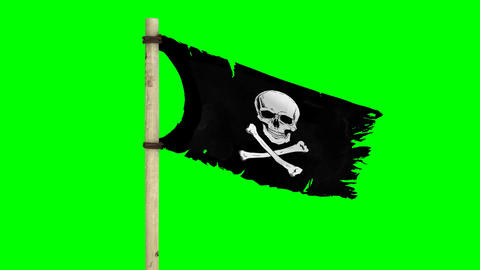 Waving Pirate Flag (Jolly Roger) On A Green Screen stock footage