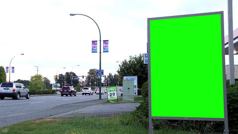 Green billboard for your ad on the street Footage