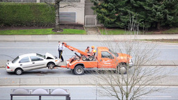 Top shot of the scene of two cars accident happened in afternoon in Coquitlam BC Footage