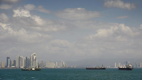 Panama City Central America View Of Cargo Ships An Footage