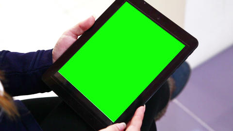Blank Green Screen Tablet Pc Outside stock footage