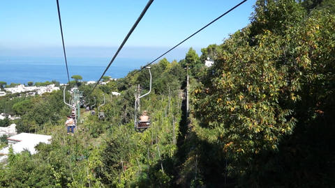 View From The Mount Solaro Chair Lift On The Isle Of Capri (2 Of 7) stock footage