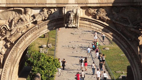 Scenes Of The Arch Of Titus In Rome (2 Of 7) stock footage