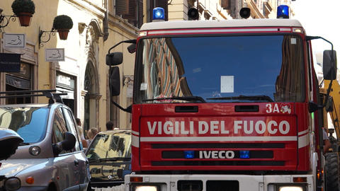 Scenes Of An Italian Firetruck (1 Of 7) stock footage