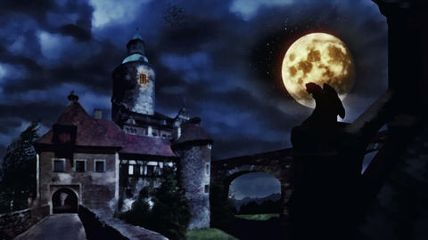 Dark castle during windy night Animation