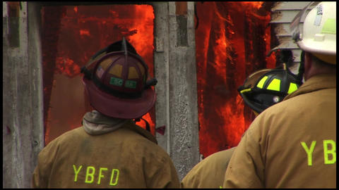 Housefire And Firefighters 2 6 stock footage