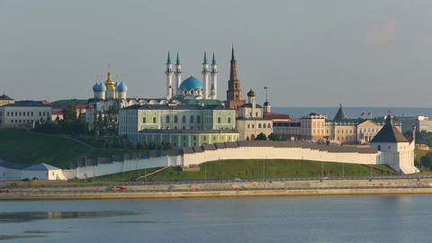kazan kremlin with reflection in river at sunset - russia, timelapse Footage