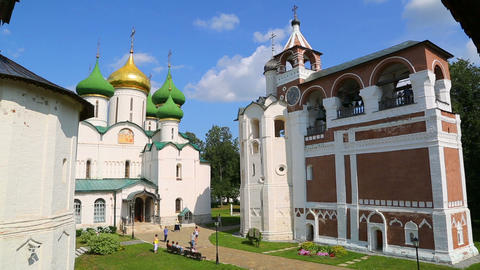 Transfiguration Cathedral and bell tower in Suzdal, Russia - timelapse Footage