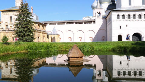 Reflection of Church of the Resurrection in Rostov Kremlin Footage