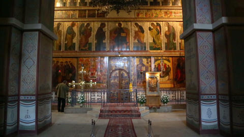 Interior of the St. Sophia Cathedral in Veliky Novgorod, Russia Footage