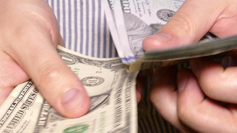 man's hands counting money Footage
