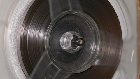 Spinning Reel On Old Tape Recorder stock footage