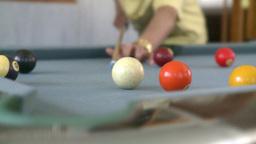 man playing pool three shots Live Action