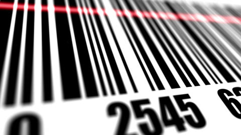Closeup of scanner scanning barcode Animation