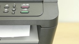 Front View Of Printer Printing One Page Empty stock footage