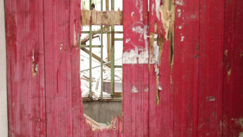 Door At Abandoned Building stock footage