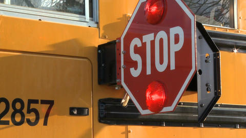 School Bus Stop Sign stock footage