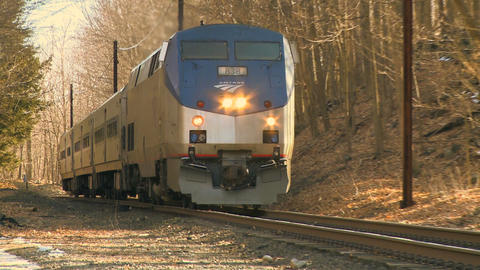 Train Coming Toward Camera stock footage