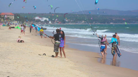 Kite surfers on the beach Footage