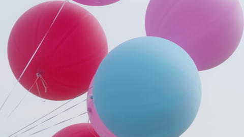 Colourful Big Baloons Flying In The Air With Clear Sky stock footage