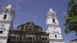 Panama City Time Lapse Cathedral In Plaza Mayor Casco Antiguo stock footage