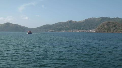 Tourist Ferry Sailing From Isla Taboga Panama Central America Footage