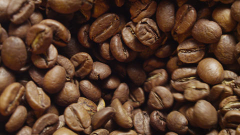 Coffee beans rotating top view 4 K Footage
