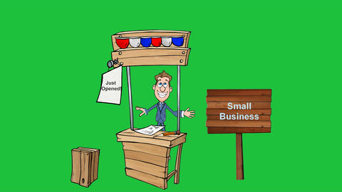 Cartoon Man With Small Business Stand: Looping stock footage