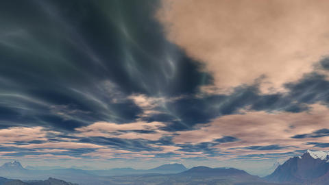Shimmering clouds over the hills Animation