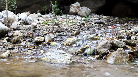 Talkative Through Noise Of Water Stream stock footage