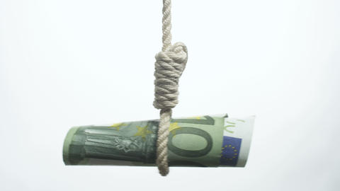 Euro Bill Hangman stock footage