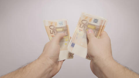 pov hands counting euros Footage