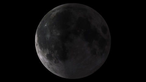 Loopable W/Alpha: Moon Phases / Moon Surface / Lunar Surface stock footage