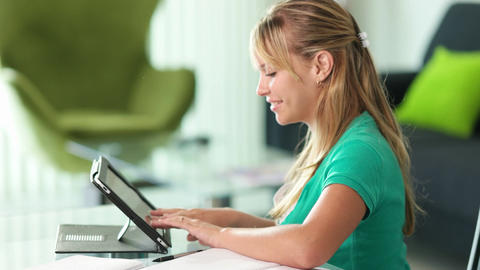 Young Woman Female Student Typing On Tablet PC Footage