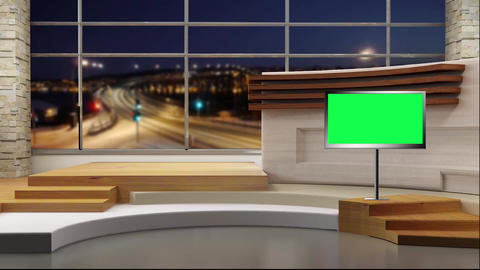News TV Studio Set 49 Virtual Green Screen Background Loop Footage