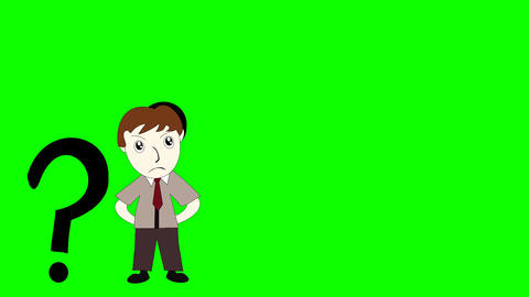 Business man thinking on a green background screen, cartoon man with an idea ビデオ