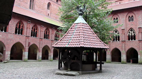 Right Pan Of The Courtyard Of Upper Castle - The Well stock footage